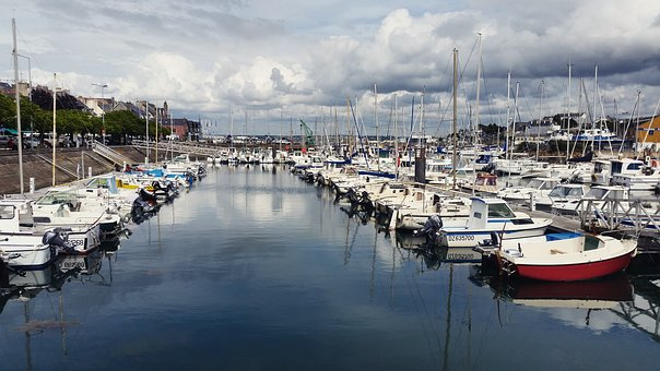 Boats, Sea, Brittany, Clouds, Grey Sky, Port, Landscape
