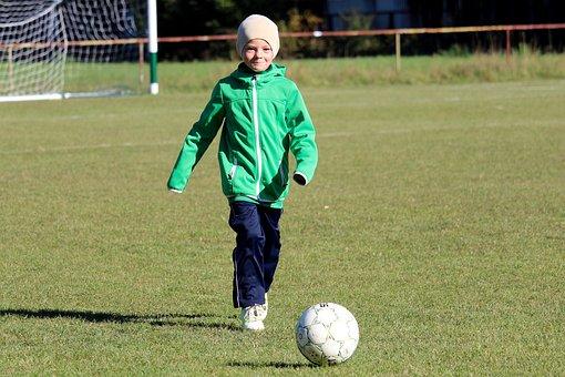 Football, Child, Smile, Pleasure, Portrait, Boy, Young