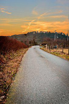 Fall, Atumn, Sunset, Road, Grey, Winter, Landscape