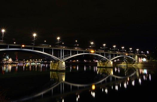 Bridge, Mirroring, Water, Architecture, River, Rhine