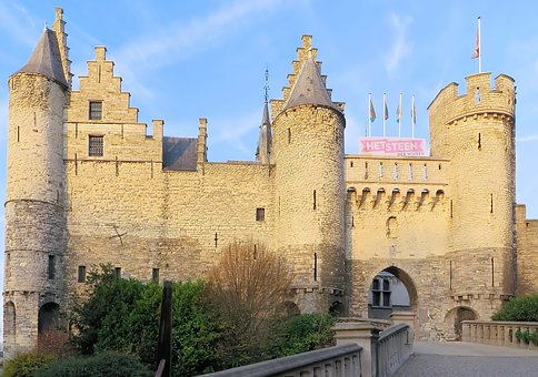 Antwerp, Castle, Belgium, Fortification, Architecture