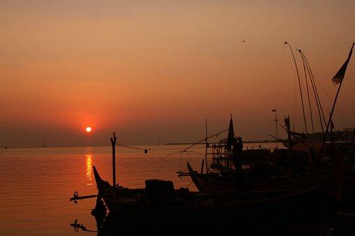 Sunset, Beach, Sea, Tropical Sea, Twilight, Dawn, Ship