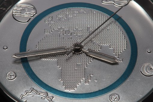 Clock, Blue, Planet, Earth, Polymer Ring, Time, Pointer
