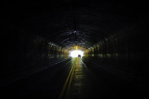 Tunnel, Car, Lights, Road, Mountains