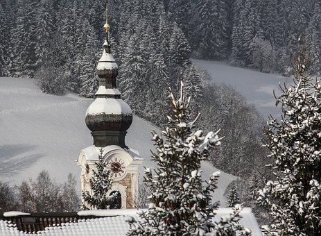 Winter, Snow, Sunshine, Church Tower, Watch, The Alps
