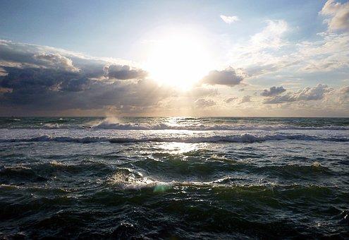 Sun, Sunbeam, Sunset, Sky, Sunlight, Clouds, Mood