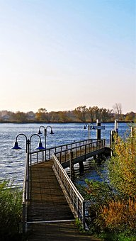 River, Elbe, Northern Germany, Jetty, Web, Autumn
