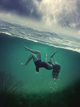 Fantasy, Under Water, Woman, Ocean, Sky