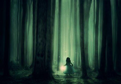 Forest, Girl, Trees, Fog, Lantern, Lighting, Atmosphere