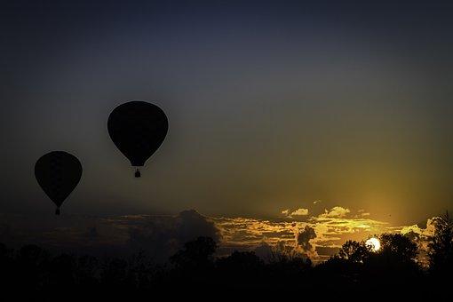 Balloons, Hot Air Balloons, Sunset, Sky, Ballooning