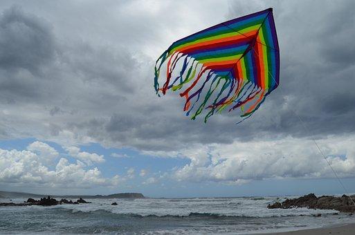 Kite, Sea, Wind, Cloudy, Sea Storm, Bad Weather, Beach