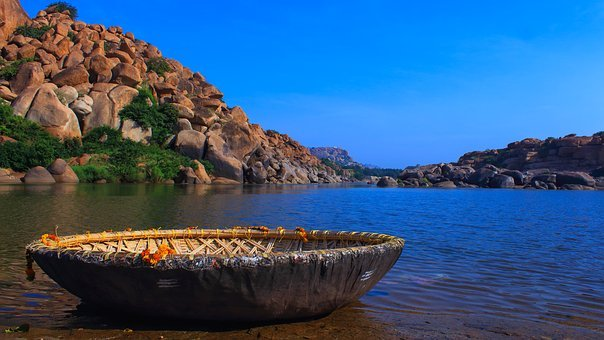 Bamboo Boat, Culture, Water, Boat, Landscape, Blue Sky