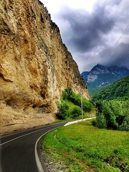 Nature, Mountains, Rock, Road, Landscape, Sky, Clouds