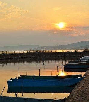Sunset, Lake, Reflection, Landscape, Marina, Quiet