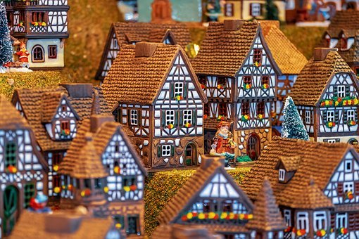 Christmas Motif, Building, Fachwerkhäuser, Miniature