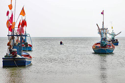 Thailand, Fishing, Boats, Sea, Water, Asia, Fisheries