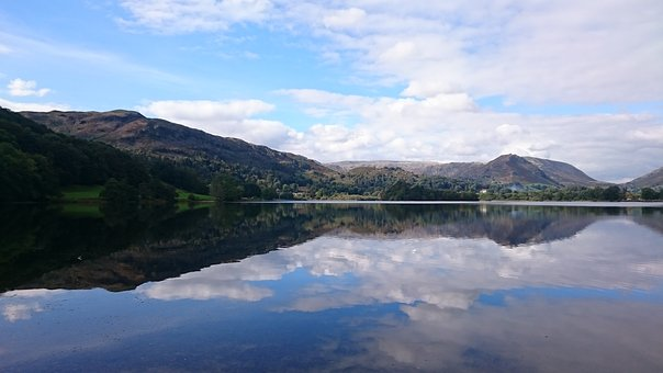 Lake, Grasmere, Nature, Water, Outdoor, Mountains, Sky
