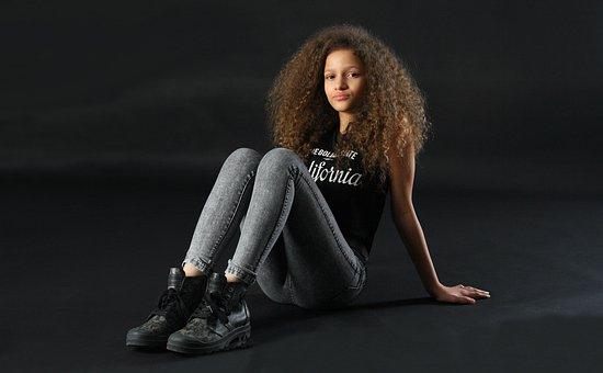 Girl, Studio, Afro, Fashion, Portrait, Young, Female