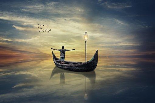 Fantasy, Reflection, Sky, Boat, Lamp, Birds