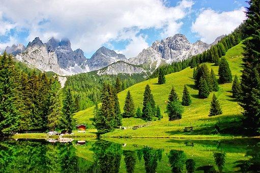 Almsee, Bischofsmütze, Bergsee, Nature, Blue, Lake