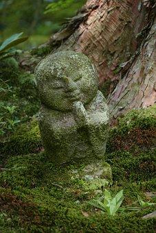 Kyoto, Stone Image, Children, Japan, Ancient, Temple