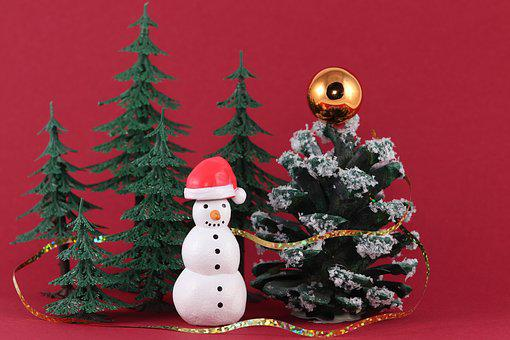 Snowman, Santa Hat, Christmas, Christmas Time, Red, Cap
