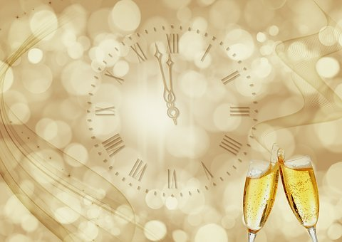 Clock, Champagne, New Year's Day, New Year's Eve
