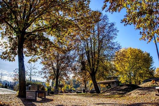 Playground, Autumn, Colorful, Sun, Backlighting