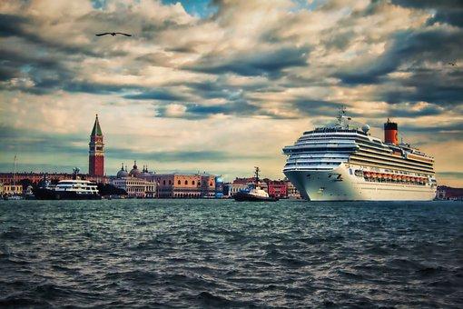 Venice, Italy, Cruise, Ship, Boat, Marine, Lagoon, City