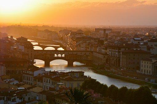 Firenze, Florence, Italie, Italy, Sunset, Bridges