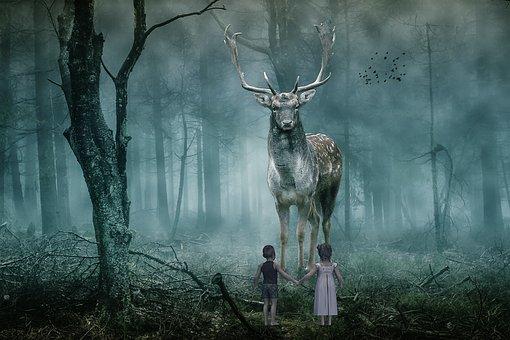Fantasy, Animal, Deer, Forest, Children, Fog, Birds