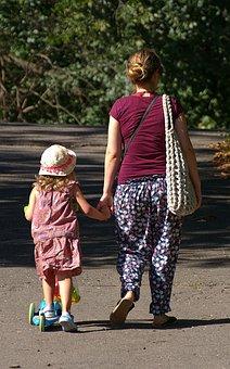 Woman, Child, Girl, Roller, Park, Summer, Walk