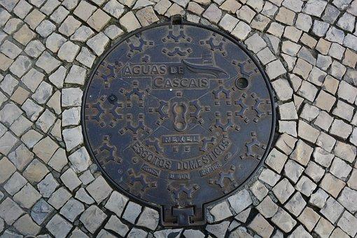 Cascais, Portugal, Manhole Cover, Paving Stones