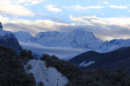 Mountain, Mountains, Mist, Morning, Winter, Nature