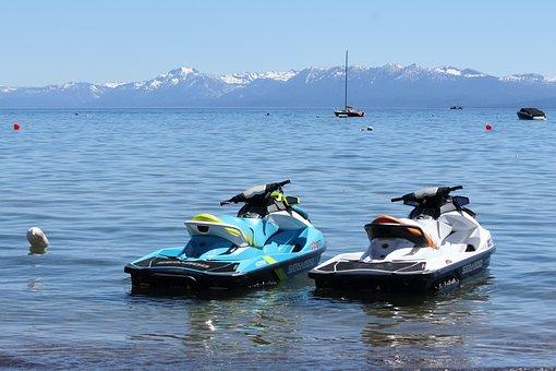 Lake Tahoe, Lake, Summer, Mountains, Boat, Water