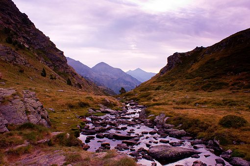 Landscape, Mountains, Mountain, River, Stones
