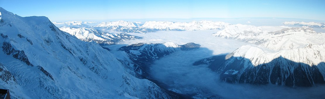 The Alps, Panorama, Winter, Mountains, Tops, View