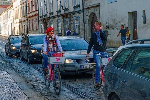 Prague, City, Street, Czech Republic, Europe, Wheels