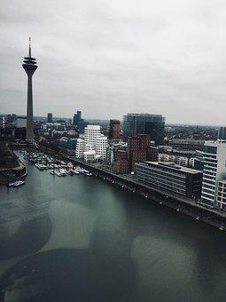 Düsseldorf, Port, Media Harbour, Rhine, Sky, City
