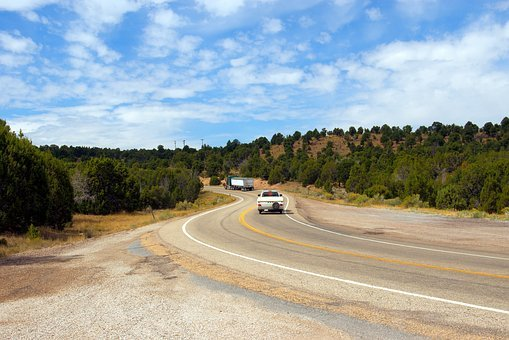 Hwy 191 At Flaming Gorge, Highway, Road, Curves, Truck