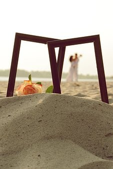Frame, Couple, Sand, Romantic, Love, Photo, Rose