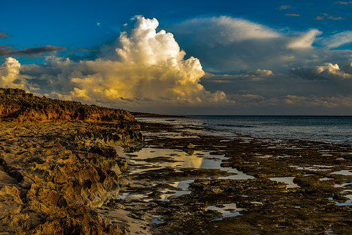 Rocky Coast, Clouds, Sky, Sea, Nature, Landscape