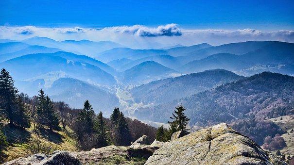 Rock, Mountains, Landscape, Nature, Sky, Mood, View
