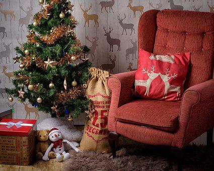 Christmas, Room, Chair, Stocking, Tree, Present, House