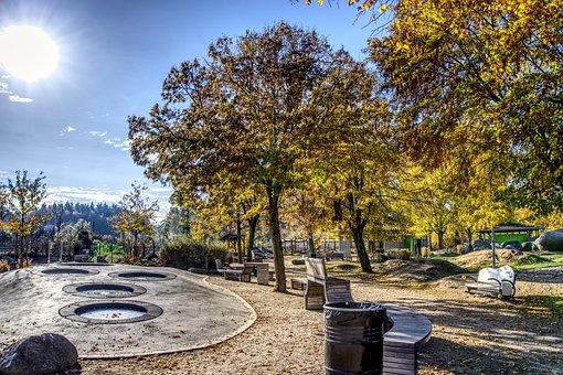 Playground, Trampoline, Autumn, Colorful, Sun