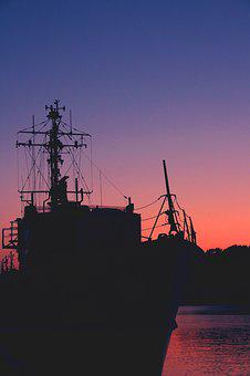 Ship, Dark, Black, Water, Silhouette, Shipping, Sunset