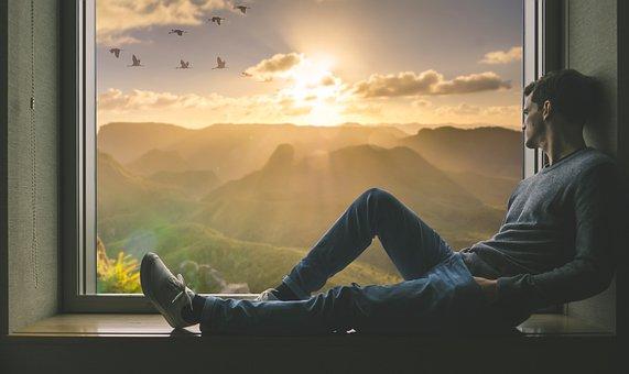 Man, Person, Window, Alone, Relax, Fantasy, Portrait