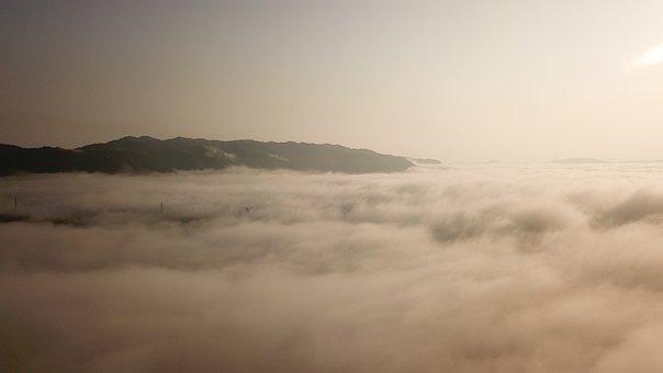 Dense Fog, Asahi, Drone, Aerial View