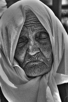 Old, Fold, Live, Black White, Portrait, Face, Wrinkled