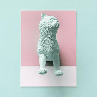 Abstract, Animal, Art, Background, Blue, Card, Cat
